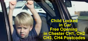 Free unlocking if a child is locked in the car in Chester